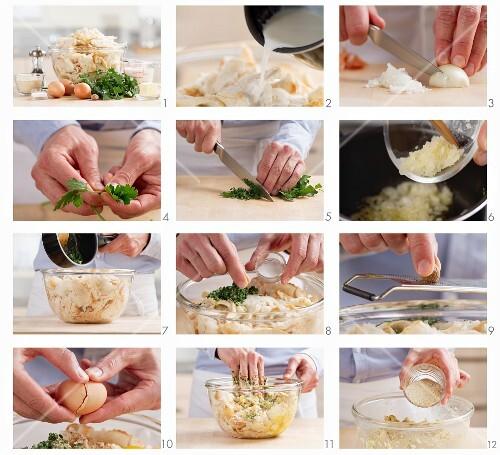 Making bread dumplings