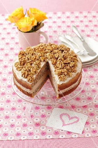 Walnut torte, sliced