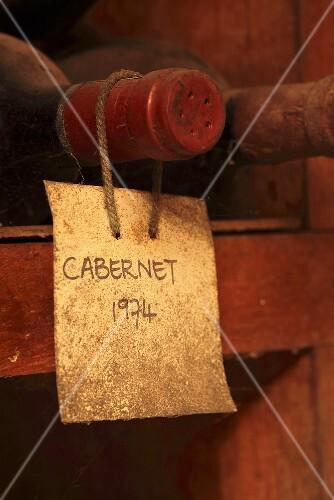 Bottle of Cabernet in a wine cellar museum (Kanonkop, Stellenbosch, Western Cape, SA)