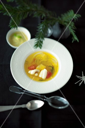 Saffron sole consommé for Christmas