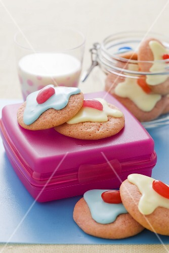 Raspberry biscuits with jelly beans