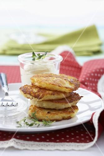 Potato cakes with a dip