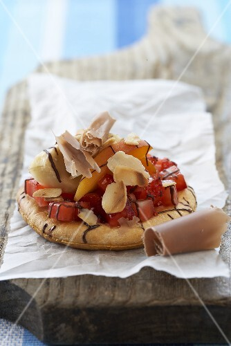 Sweet pizzas topped with fruit and chocolate
