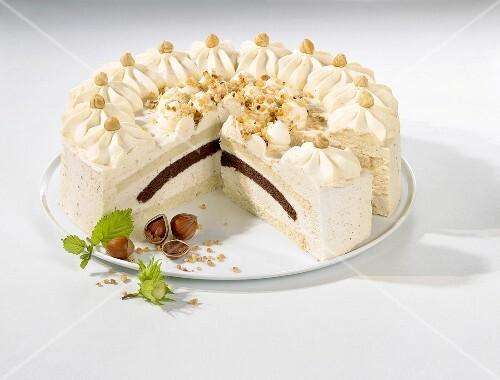 A creamy nut cake, sliced