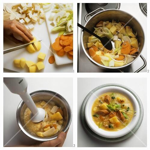 Making potato soup