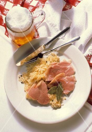 Ham Slices on Sauerkraut