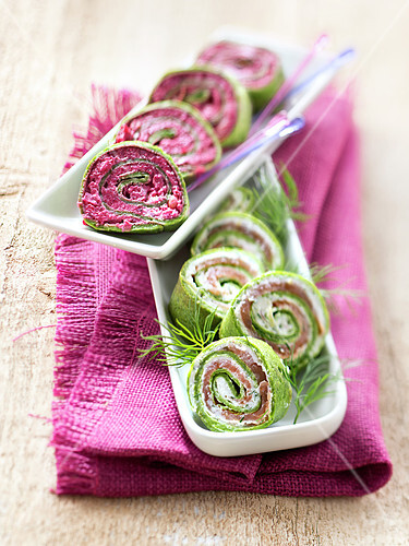 Pink and green Philadelphia roll duo