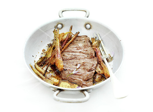 Pan-fried prime veal cut with parsnips and shallots