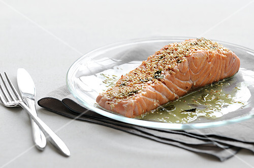 Piece of salmon with green tea