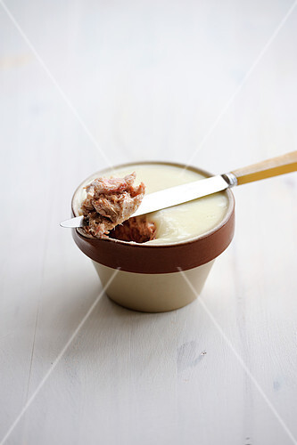 Pot of Rillettes on a white background