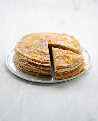 Pancake and orange marmelade layer cake