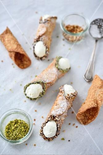 Sicilian crushed pistachio and hazelnut Cannoli