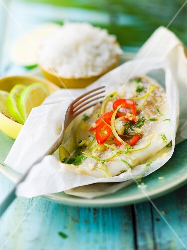 Pollock, lime, pepper and ginger papillote