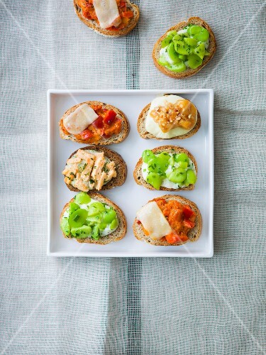Assortment of appetizer toasts