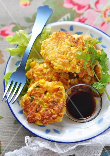 Asian-style pumpkin, sweetcorn and tofu fritters
