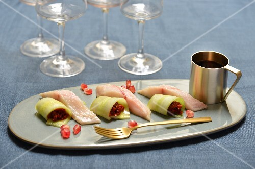Cucumber and confit tomato rolls, raw mackerel, pomegranate seeds and vinaigrette