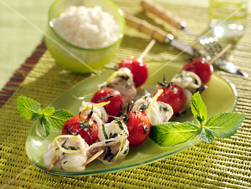Cherry tomato and monkfish marinated in lemon and mint brochettes