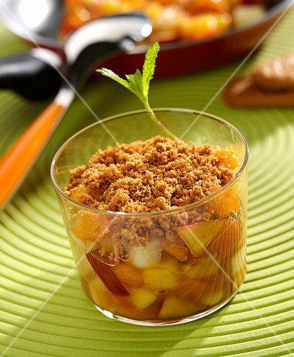 Pan-fried summer fruit spiced biscuit crumble
