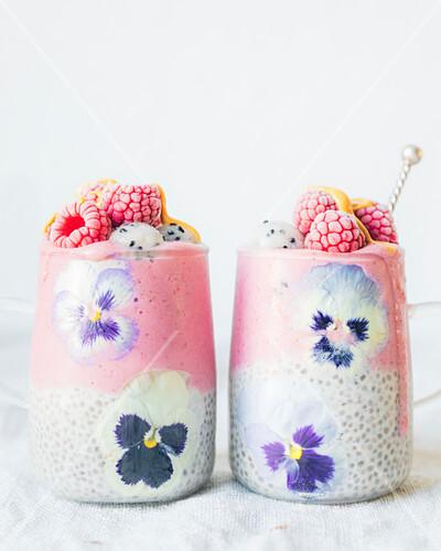 Chia seeds in coconut milk and Raspberry-pitahaya ice cream smoothie