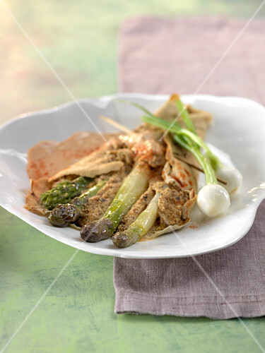 Buckwheat galette with asparagus and mushrooms,paprika sauce