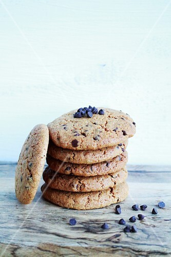 Pile of praline and chocolate chip cookies
