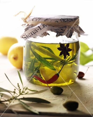 Jar of flavoured olive oil