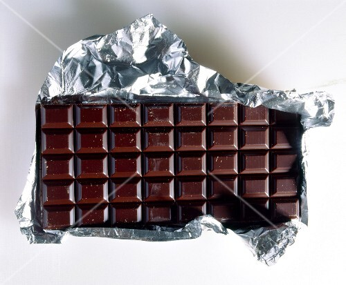 Bar of plain chocolate with foil wrapping