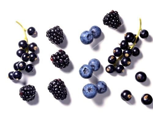 Blackcurrants, blackberries and blueberries