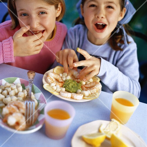 Children eating at table