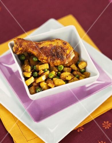 Tandoori chicken, potatoes, spices and yoghurt