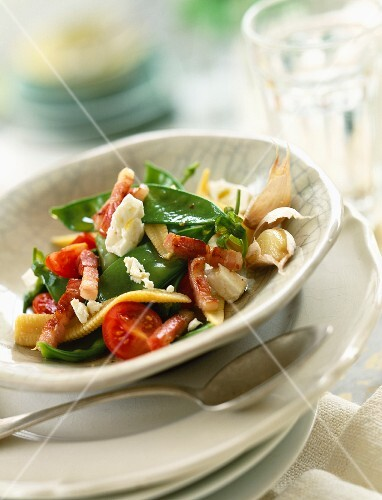 Sger pea salad with feta and diced bacon