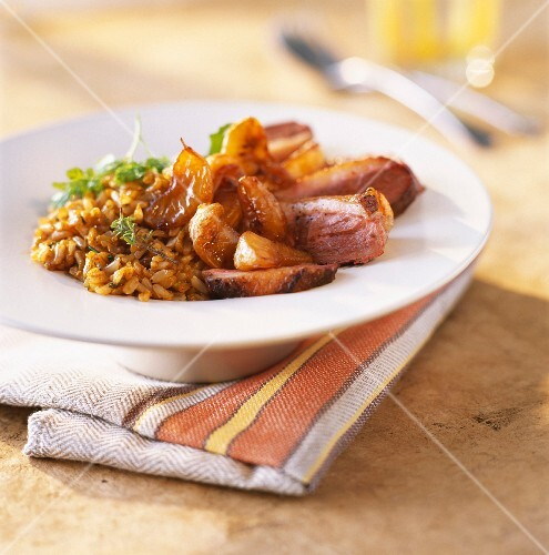 Fillets of duck breast with caramelized mandarines