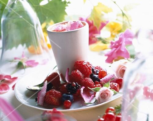 Rose and summer fruit cream dessert