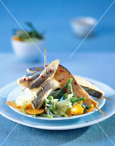 Fish and sautéed vegetable Yakitori