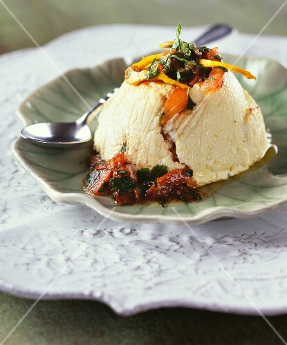 Ricotta with confit tomatoes and herbs