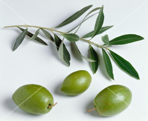 Green olives and leaves