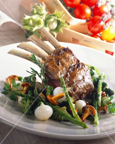 Loin of lamb with baby vegetables