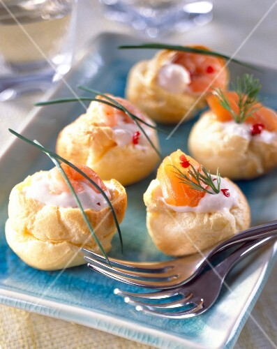 Assorted mini lobster bisque chou pastry puffs (topic: lobster bisque)