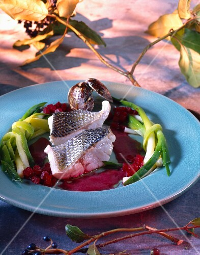Bass with beetroot coulis