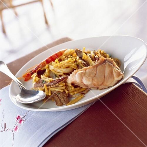Fideua noodle and seafood paella
