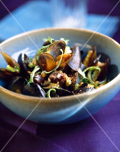Curried mussels in coconut milk