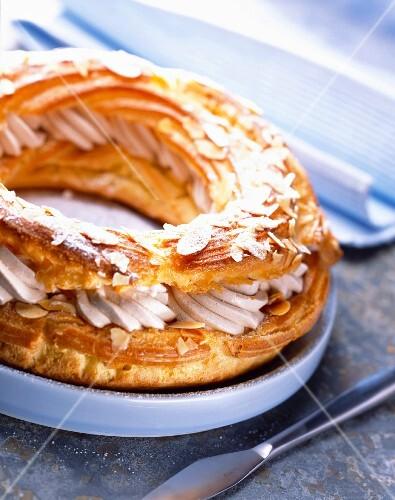 Paris-Brest chou pastry and praline cream cake