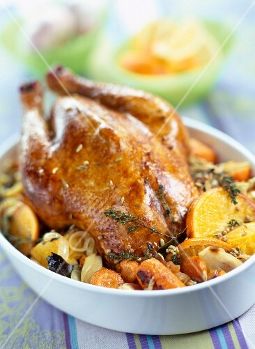 Roast chicken with orange and fennel seeds