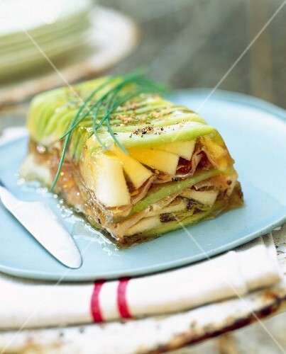 Two melon and ham terrine