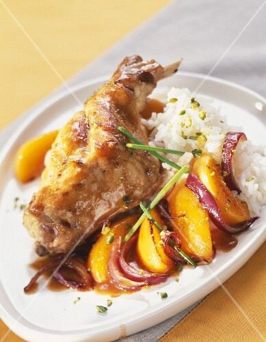 Swwet and sour rabbit with peaches