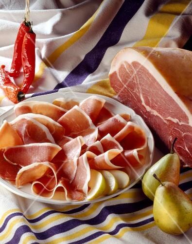 Thinly sliced Bayonne ham