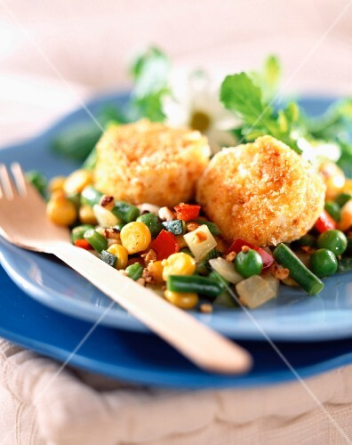 Warm pan-fried mixed vegetables