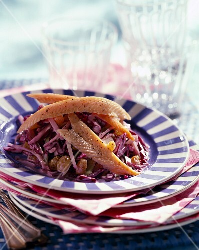 Coleslaw with smoked trout