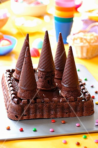 Chocolate birthday cake in form of castle