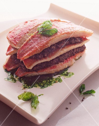 Red mullet and tapenade layer
